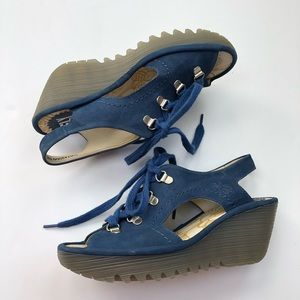 Fly London Ylfa lace up wedges in blue size 6